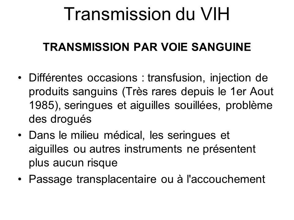 TRANSMISSION PAR VOIE SANGUINE