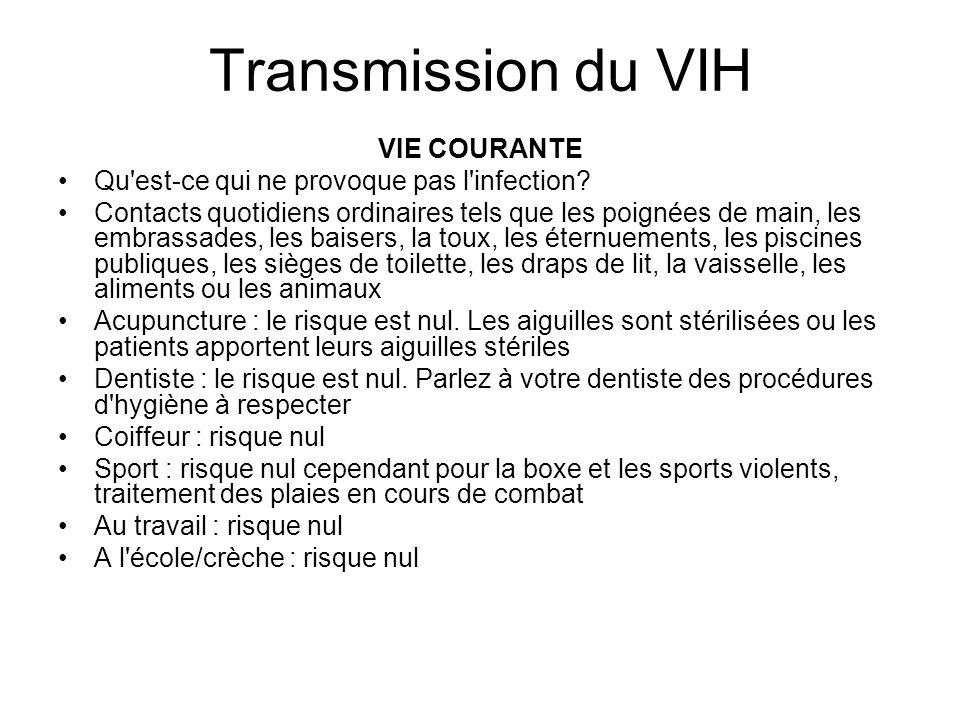 Transmission du VIH VIE COURANTE