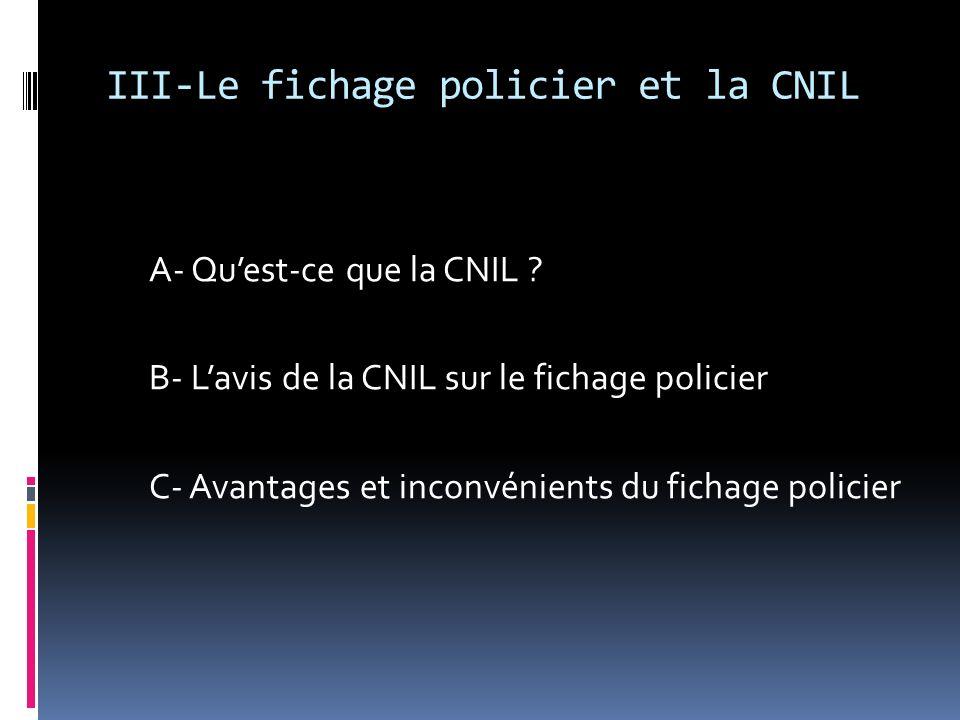 III-Le fichage policier et la CNIL