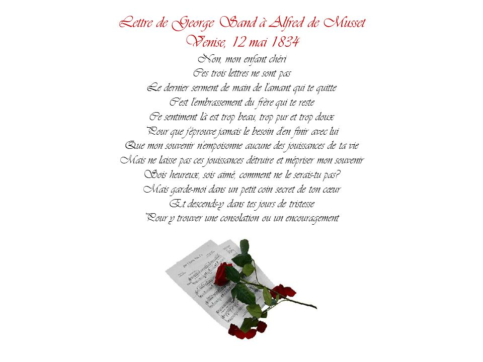 Lettre de George Sand à Alfred de Musset Venise, 12 mai 1834