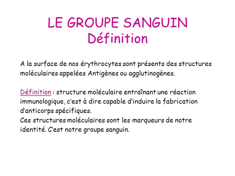 LE GROUPE SANGUIN Définition