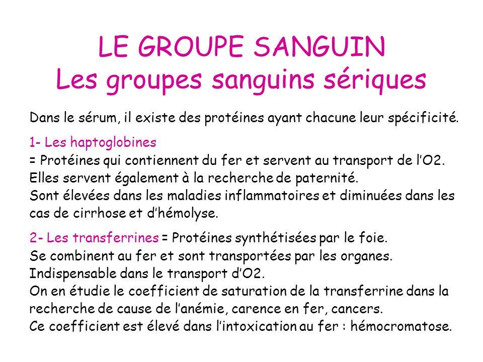 LE GROUPE SANGUIN Les groupes sanguins sériques