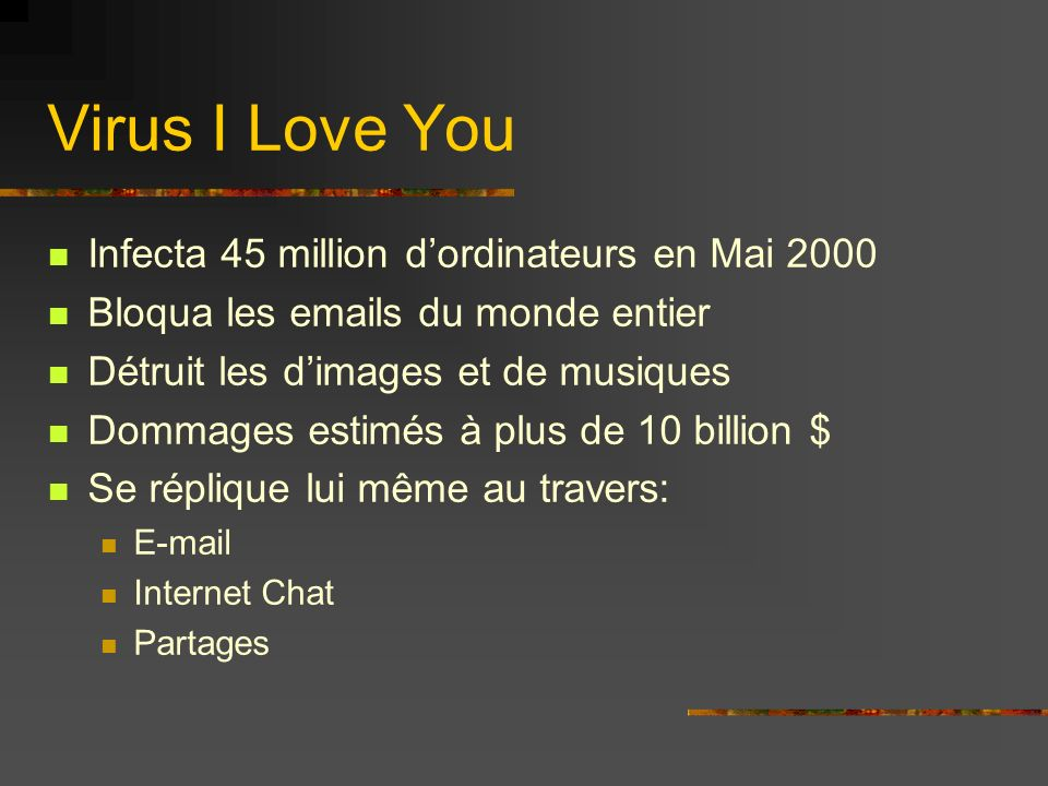 Virus I Love You Infecta 45 million d'ordinateurs en Mai 2000