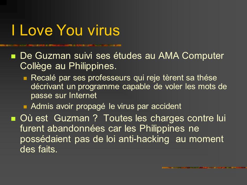 I Love You virus De Guzman suivi ses études au AMA Computer Collège au Philippines.