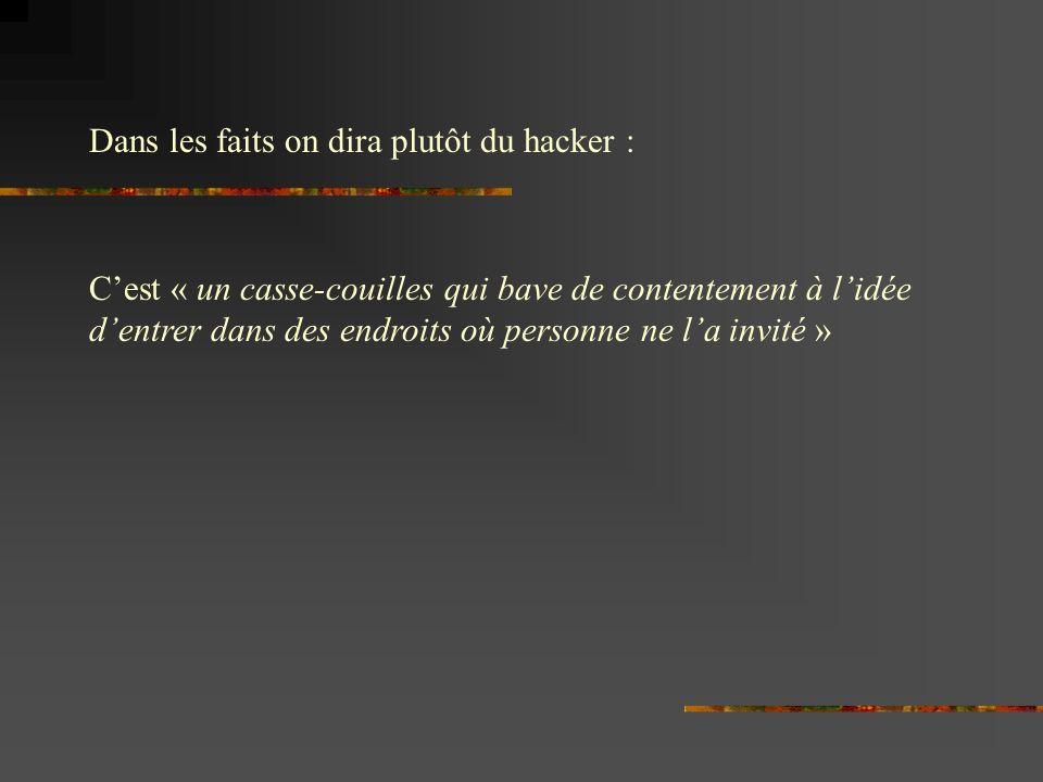 Dans les faits on dira plutôt du hacker :