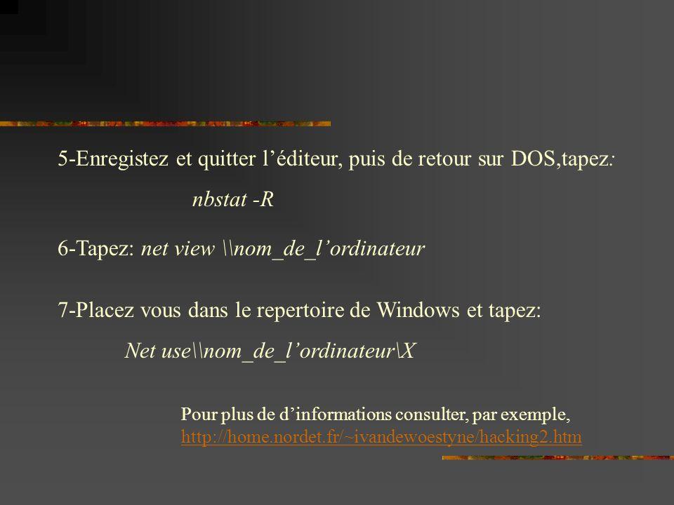 5-Enregistez et quitter l'éditeur, puis de retour sur DOS,tapez:
