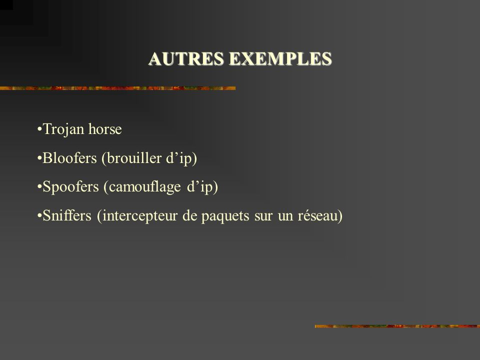 AUTRES EXEMPLES Trojan horse Bloofers (brouiller d'ip)