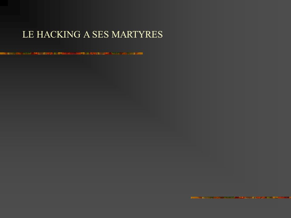 LE HACKING A SES MARTYRES