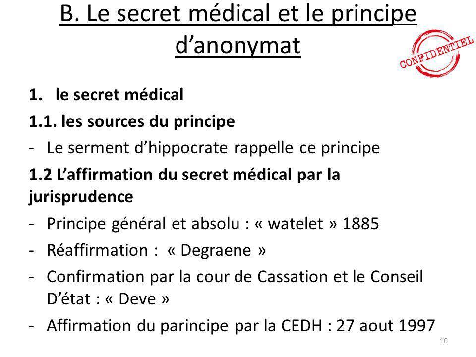 B. Le secret médical et le principe d'anonymat