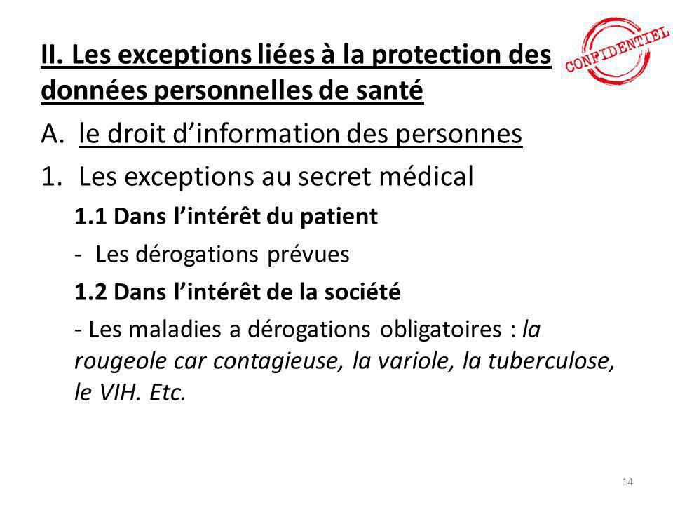 le droit d'information des personnes Les exceptions au secret médical