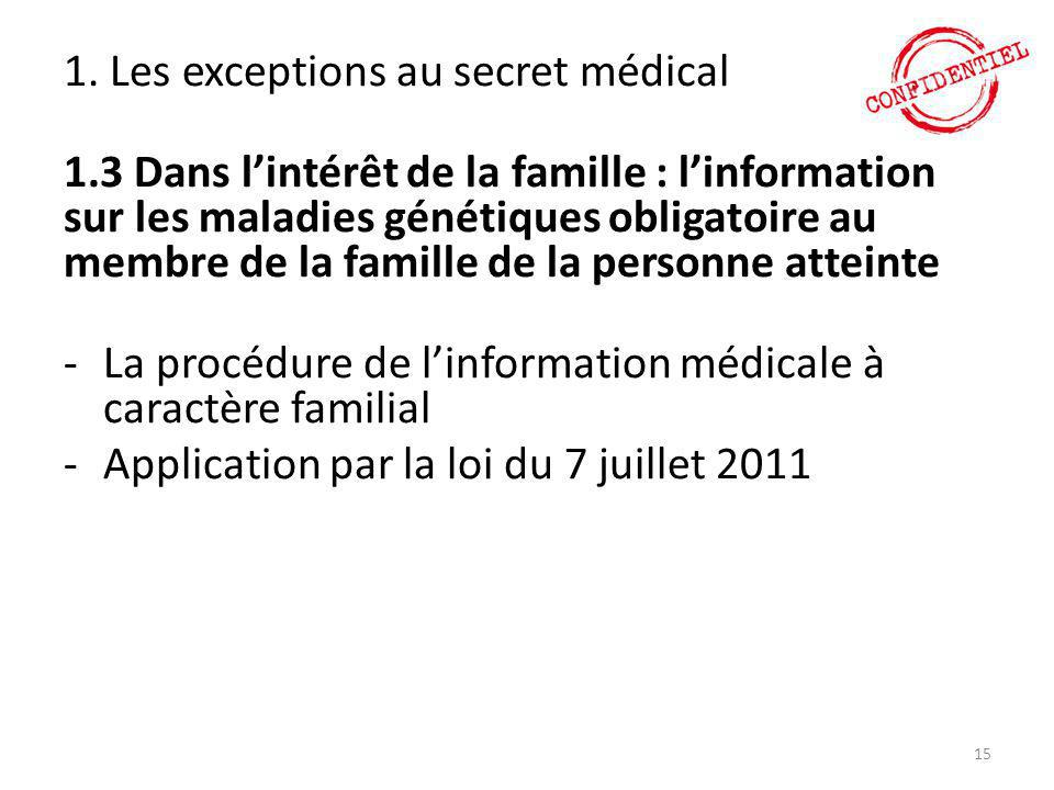 1. Les exceptions au secret médical