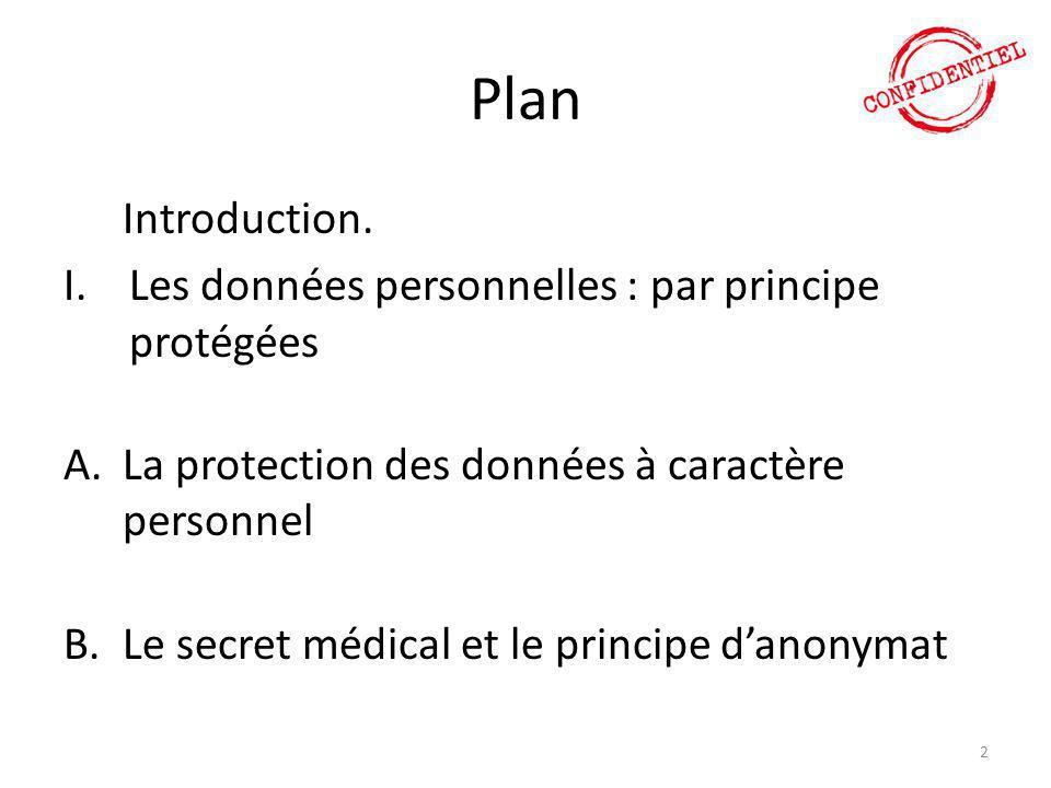 Plan Les données personnelles : par principe protégées