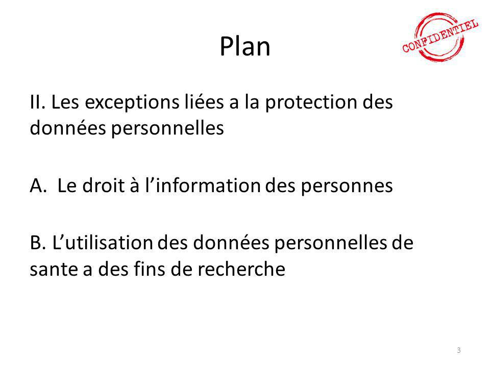 Plan II. Les exceptions liées a la protection des données personnelles
