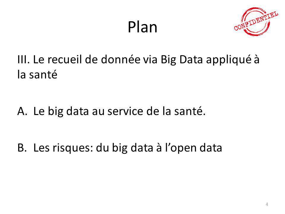 Plan III. Le recueil de donnée via Big Data appliqué à la santé