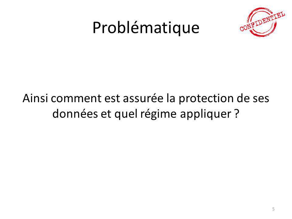 Problématique Ainsi comment est assurée la protection de ses données et quel régime appliquer