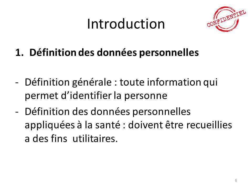 Introduction Définition des données personnelles