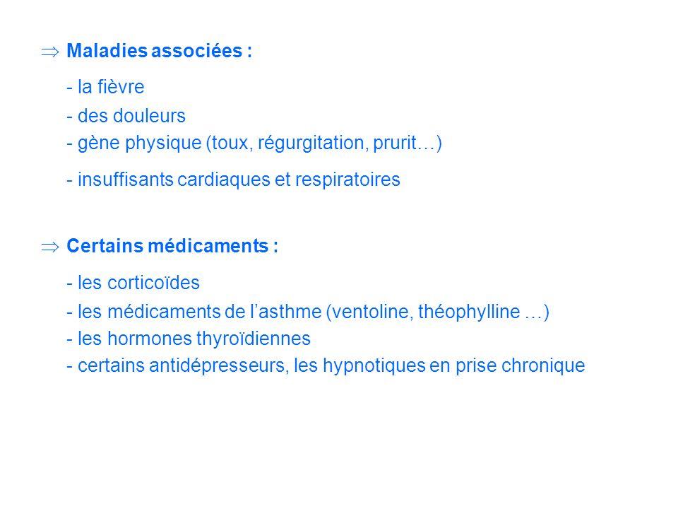 - la fièvre - les corticoïdes Maladies associées : - des douleurs