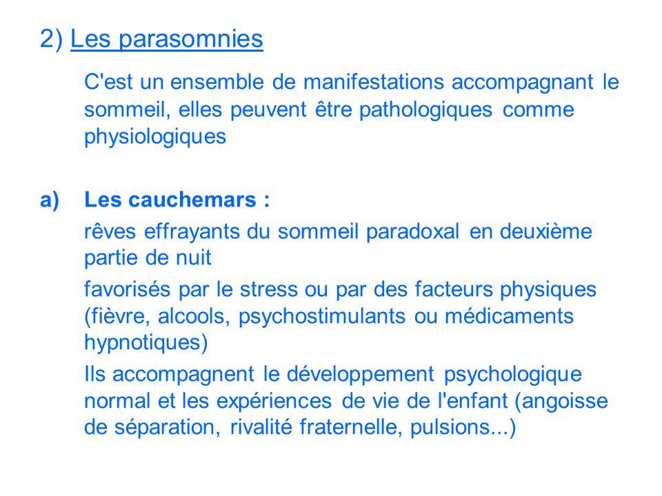 2) Les parasomnies C est un ensemble de manifestations accompagnant le sommeil, elles peuvent être pathologiques comme physiologiques.