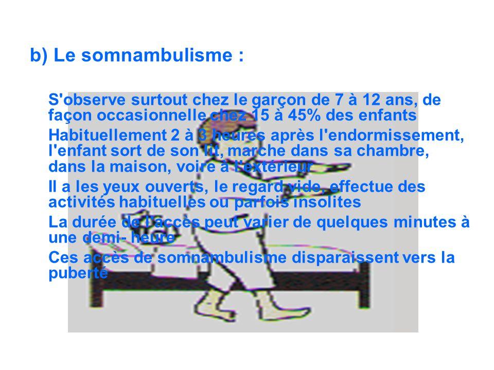 b) Le somnambulisme : S observe surtout chez le garçon de 7 à 12 ans, de façon occasionnelle chez 15 à 45% des enfants.