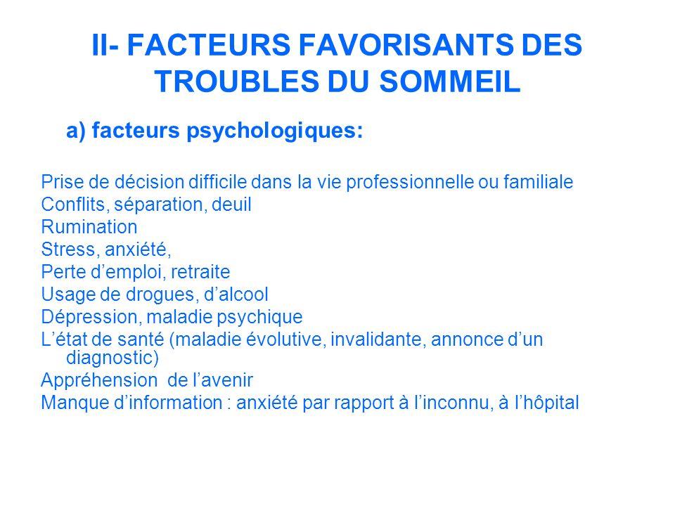 II- FACTEURS FAVORISANTS DES TROUBLES DU SOMMEIL