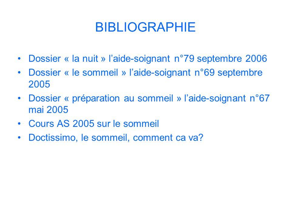 BIBLIOGRAPHIE Dossier « la nuit » l'aide-soignant n°79 septembre 2006