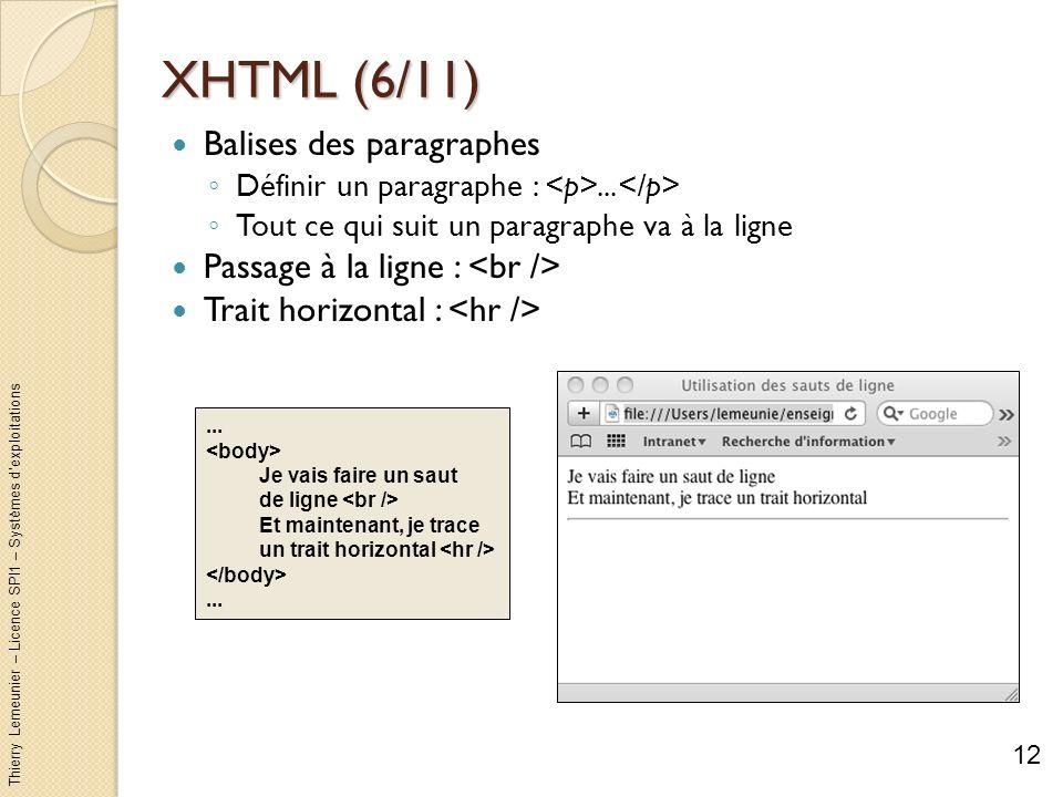 XHTML (6/11) Balises des paragraphes Passage à la ligne : <br />