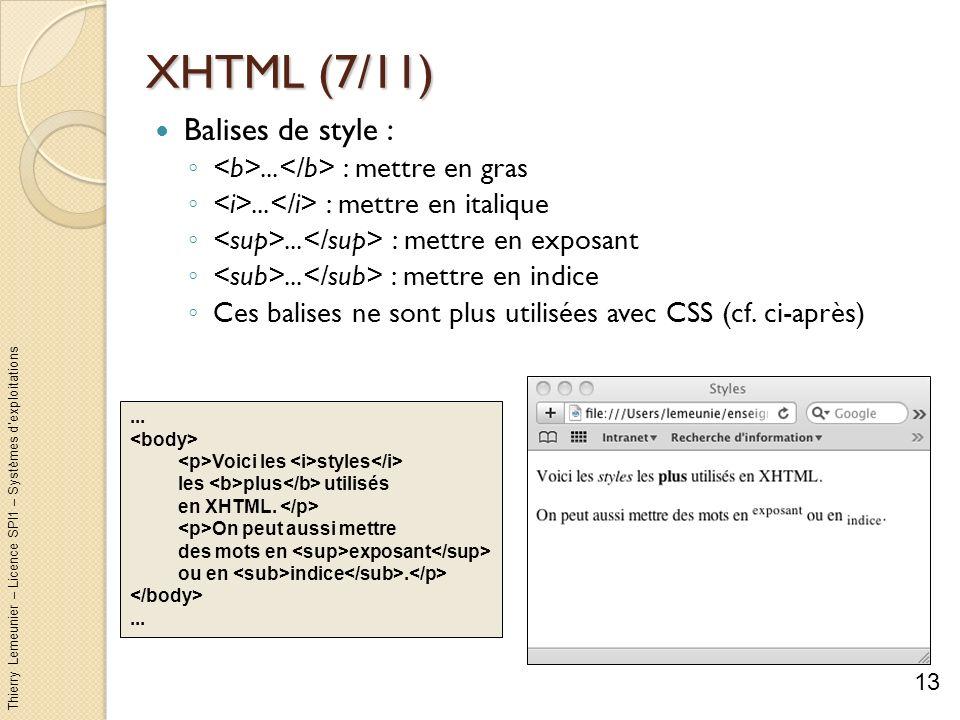 XHTML (7/11) Balises de style :