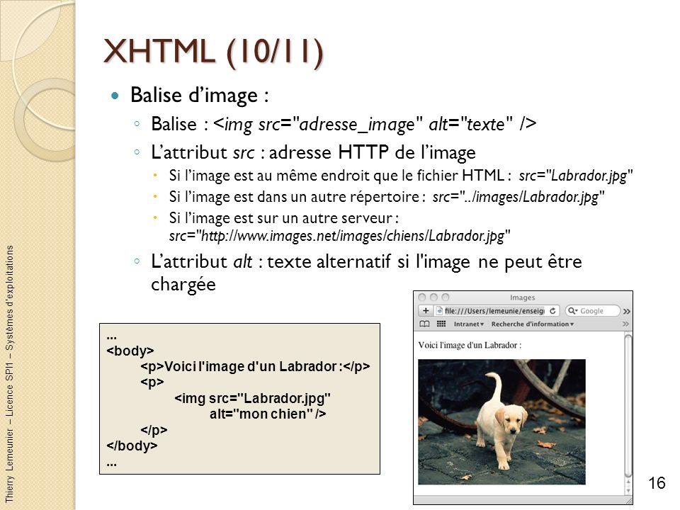 XHTML (10/11) Balise d'image :