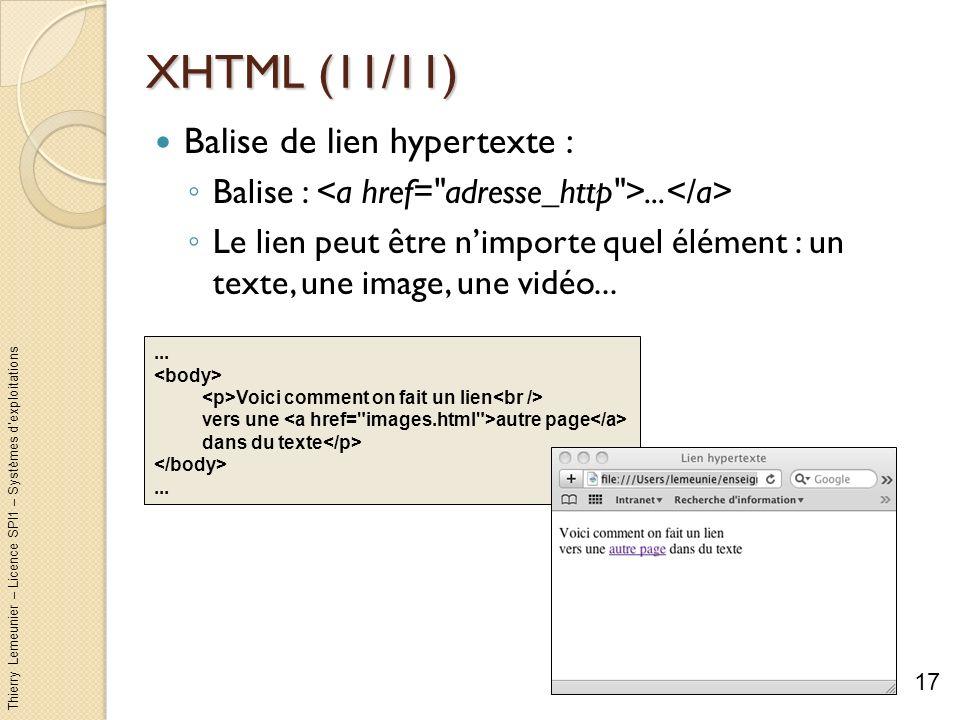 XHTML (11/11) Balise de lien hypertexte :