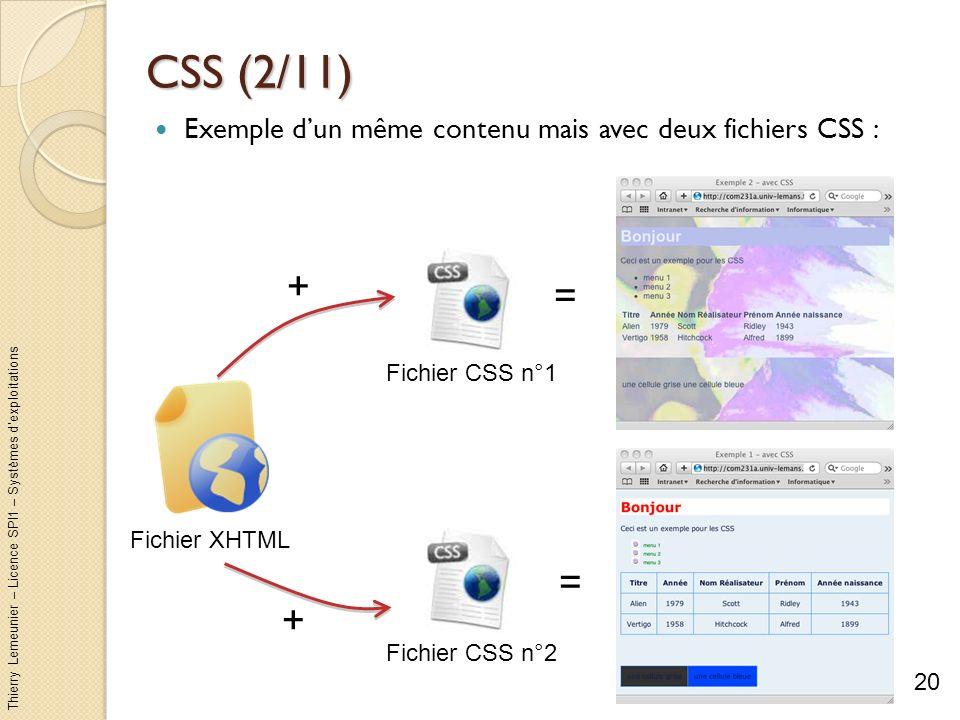 CSS (2/11) Exemple d'un même contenu mais avec deux fichiers CSS : + = Fichier CSS n°1. Fichier XHTML.