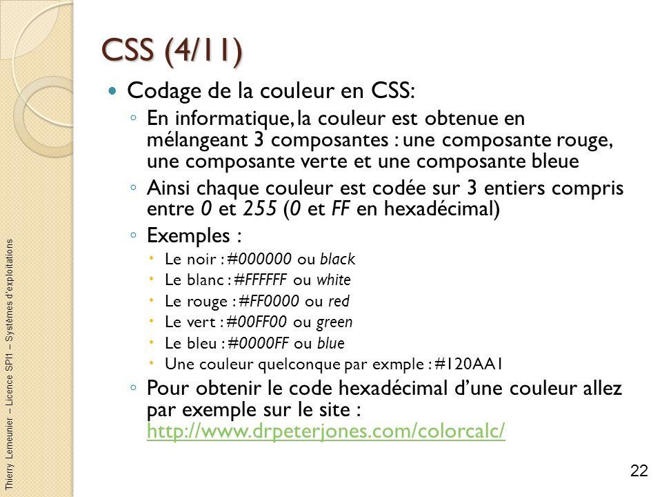 CSS (4/11) Codage de la couleur en CSS: