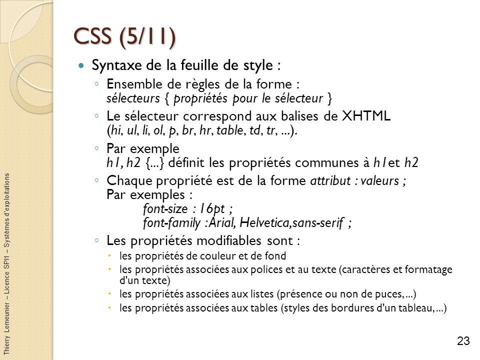 CSS (5/11) Syntaxe de la feuille de style :