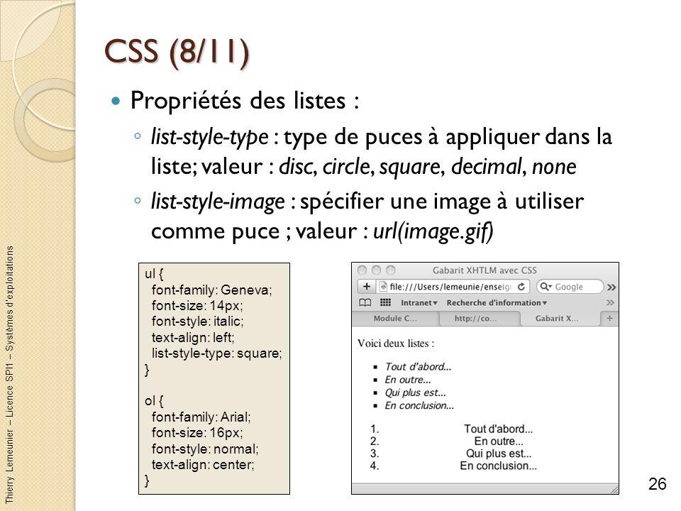 CSS (8/11) Propriétés des listes :