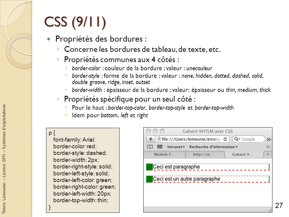 CSS (9/11) Propriétés des bordures :