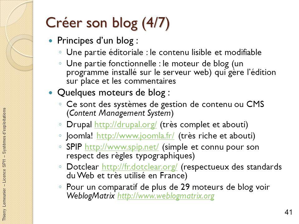 Créer son blog (4/7) Principes d'un blog : Quelques moteurs de blog :