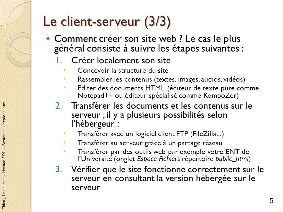 Le client-serveur (3/3) Comment créer son site web Le cas le plus général consiste à suivre les étapes suivantes :