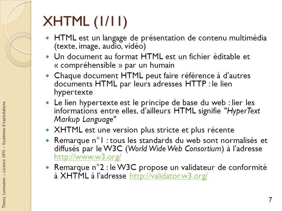 XHTML (1/11) HTML est un langage de présentation de contenu multimédia (texte, image, audio, vidéo)