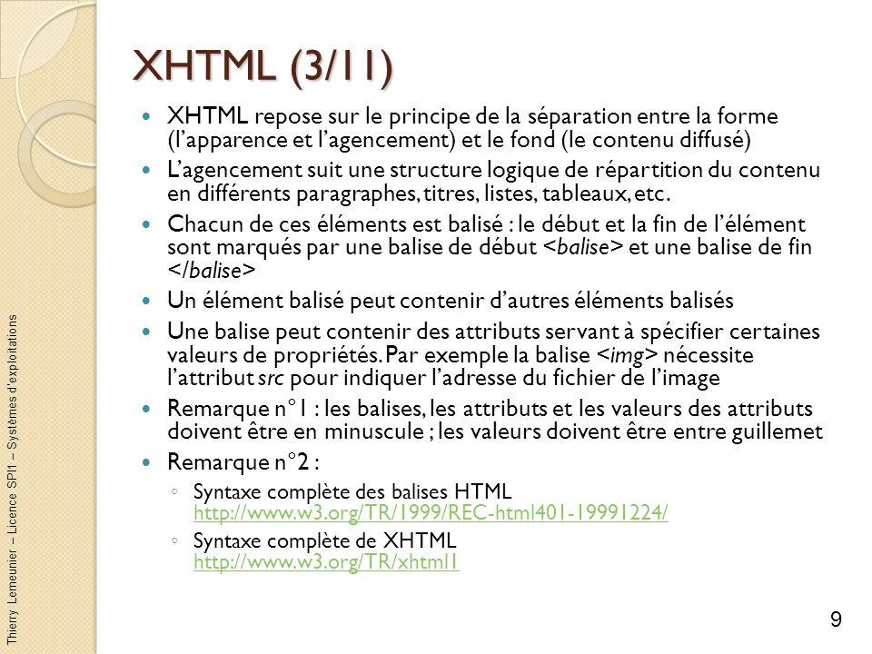 XHTML (3/11) XHTML repose sur le principe de la séparation entre la forme (l'apparence et l'agencement) et le fond (le contenu diffusé)