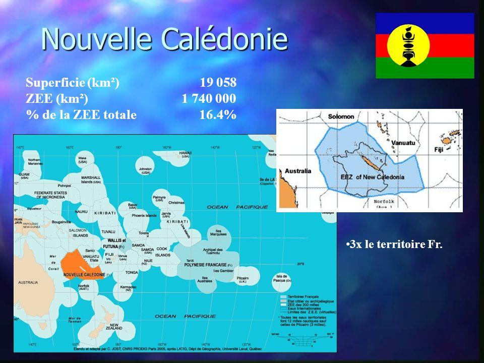 Nouvelle Calédonie Superficie (km²) 19 058 ZEE (km²) 1 740 000