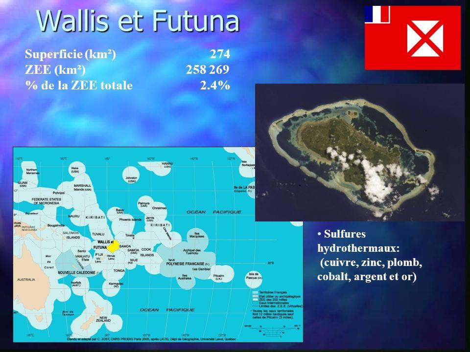Wallis et Futuna Superficie (km²) 274 ZEE (km²) 258 269