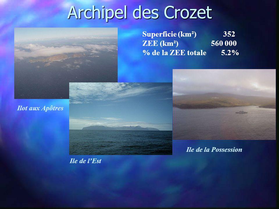 Archipel des Crozet Superficie (km²) 352 ZEE (km²) 560 000