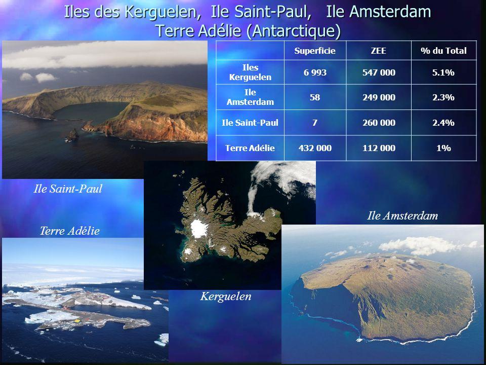 Iles des Kerguelen, Ile Saint-Paul, Ile Amsterdam Terre Adélie (Antarctique)