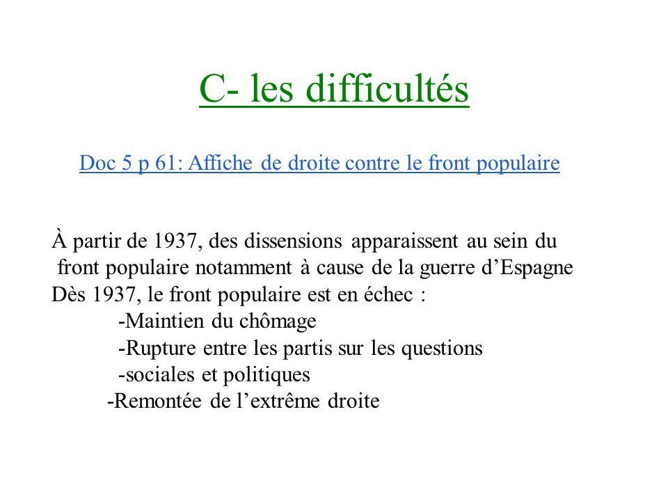 C- les difficultés Doc 5 p 61: Affiche de droite contre le front populaire. À partir de 1937, des dissensions apparaissent au sein du.