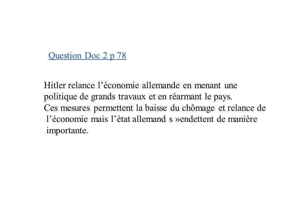 Question Doc 2 p 78 Hitler relance l'économie allemande en menant une. politique de grands travaux et en réarmant le pays.