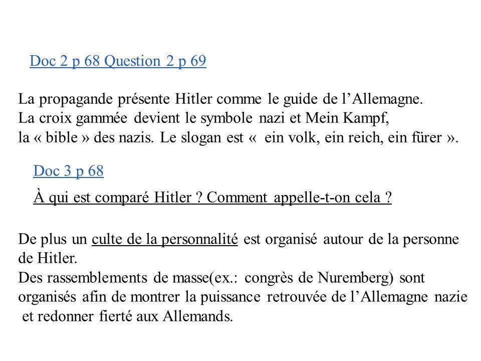 Doc 2 p 68 Question 2 p 69 La propagande présente Hitler comme le guide de l'Allemagne. La croix gammée devient le symbole nazi et Mein Kampf,