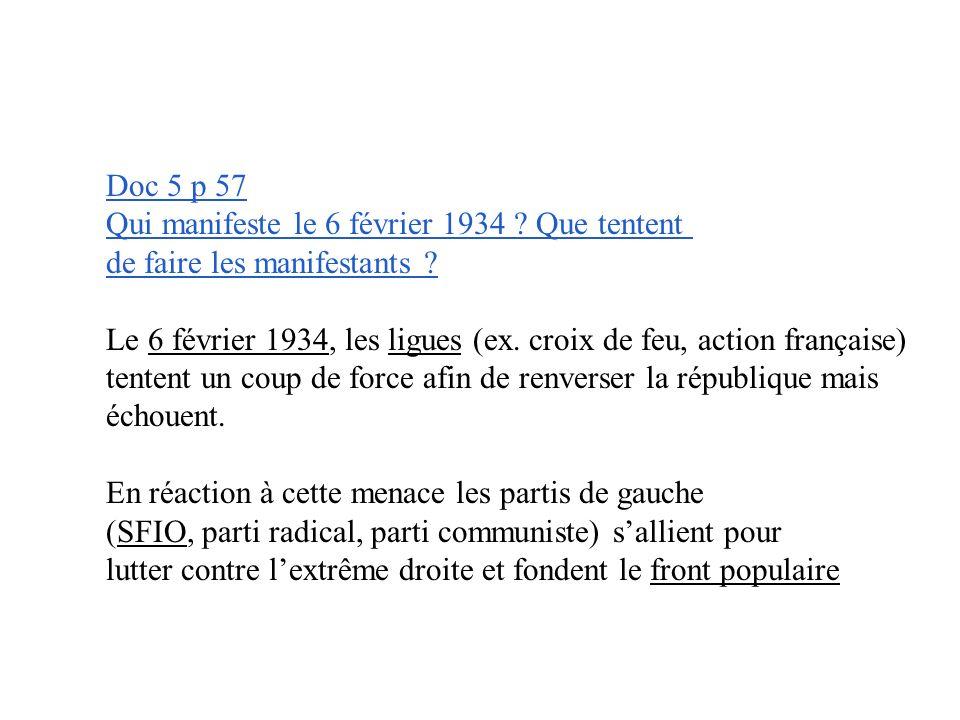 Doc 5 p 57 Qui manifeste le 6 février 1934 Que tentent. de faire les manifestants