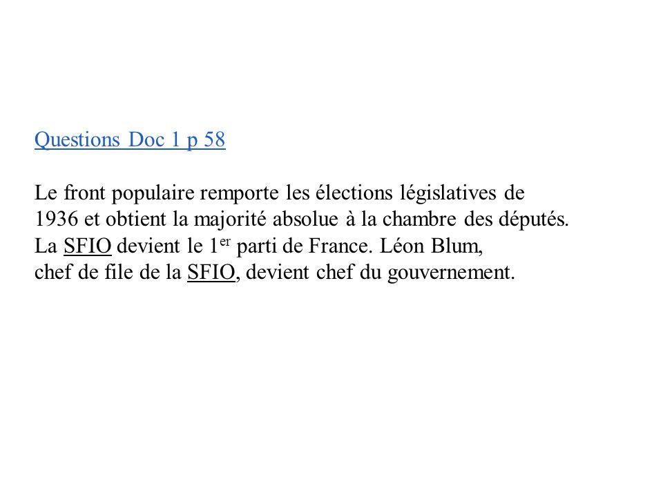Questions Doc 1 p 58 Le front populaire remporte les élections législatives de. 1936 et obtient la majorité absolue à la chambre des députés.