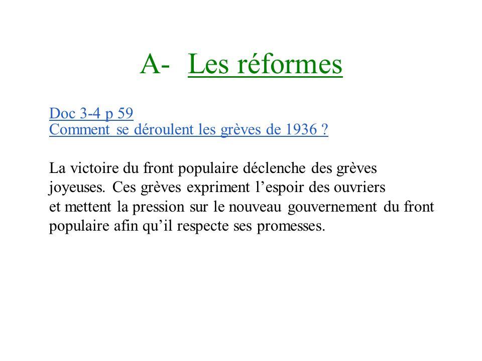 A- Les réformes Doc 3-4 p 59 Comment se déroulent les grèves de 1936