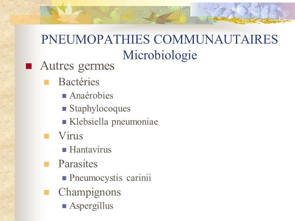 PNEUMOPATHIES COMMUNAUTAIRES Microbiologie