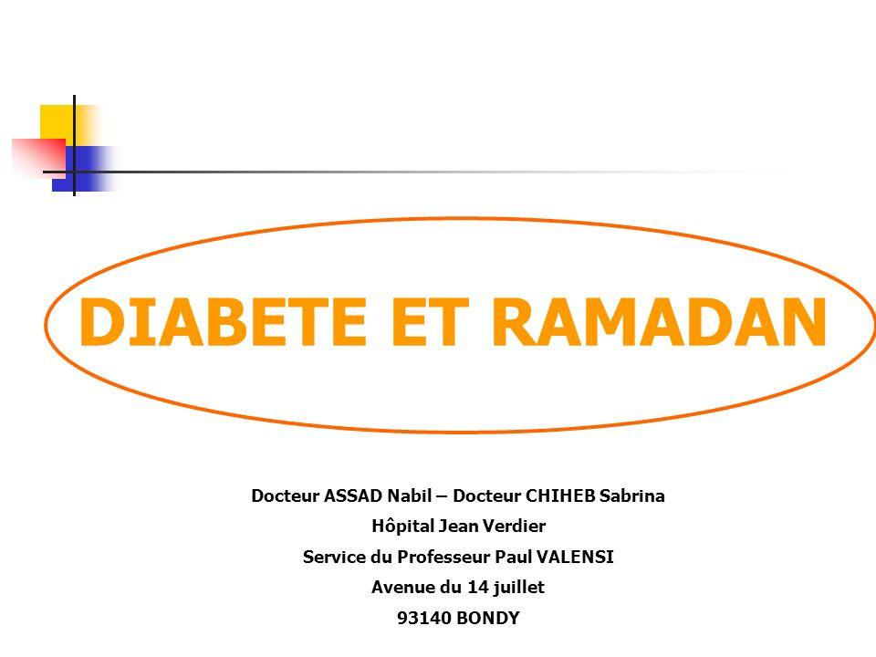 DIABETE ET RAMADAN Docteur ASSAD Nabil – Docteur CHIHEB Sabrina